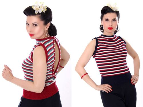 30er FINJA retro Rockabilly Perlen Jumper Strick Shirt Top Rückenfrei – Bild 1