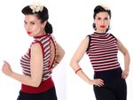 30er FINJA retro Rockabilly Perlen Jumper Strick Shirt Top Rückenfrei