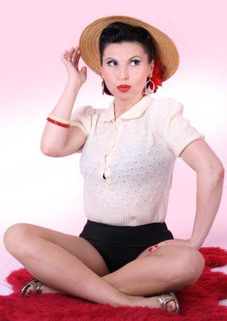 40er retro vintage Rockabilly Pullover Poloshirt Strick Strickpulli 40s – Bild 3