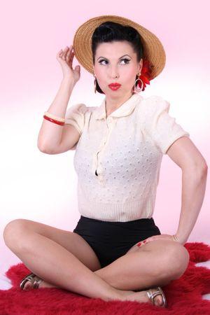 40er retro vintage Rockabilly Pullover Poloshirt Strick Strickpulli 40s – Bild 1