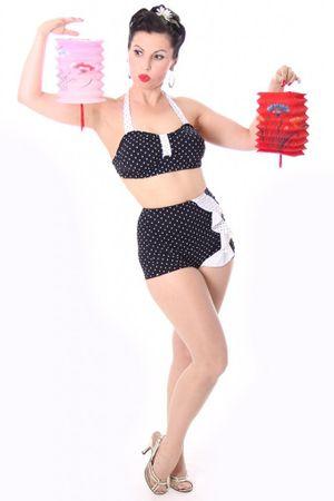 50s retro SARINA Polka Dots Rüschen Bikini – Bild 2