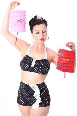 50s retro SARINA Polka Dots Rüschen Bikini – Bild 1