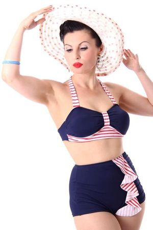 50s retro CYNTHIA Sailor Rüschen Pin Up Bikini – Bild 1