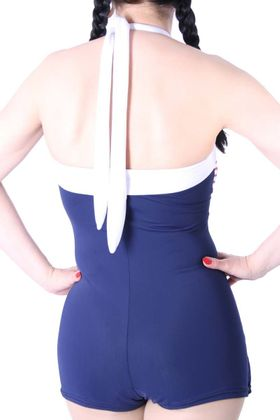 50er retro Pin Up Matrosen Sailor AHOI Streifen Rockabilly Badeanzug – Bild 5