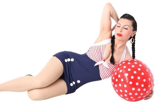 50er retro Pin Up Matrosen Sailor AHOI Streifen Rockabilly Badeanzug – Bild 3