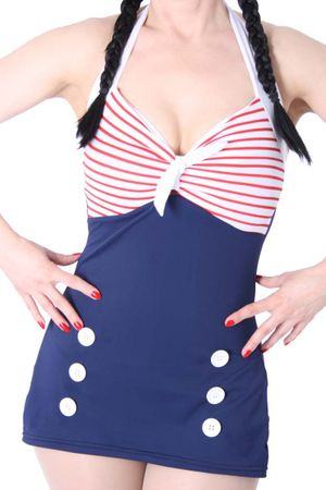 50er retro Pin Up Matrosen Sailor AHOI Streifen Rockabilly Badeanzug – Bild 2