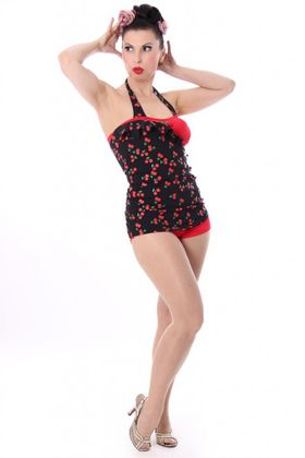 LIANA 50s retro Pin Up Cherry Kirschen Rockabilly Badeanzug Swimsuit – Bild 2