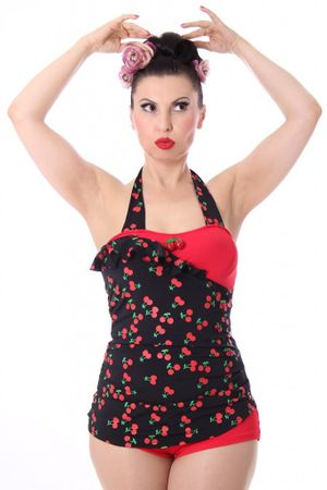 LIANA 50s retro Pin Up Cherry Kirschen Rockabilly Badeanzug Swimsuit – Bild 1