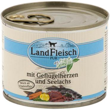 Landfleisch Dog Pur Geflügelherzen & Seelachs 195 g VE 12x