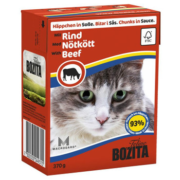 Bozita Cat Tetra Recard Häppchen in Soße Rind 370g VE 16x
