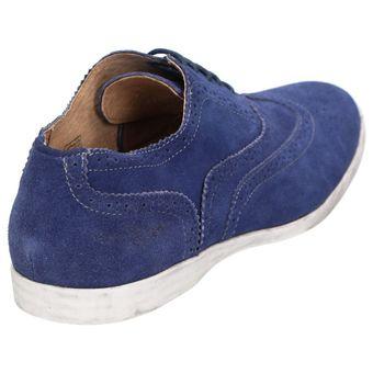 Roberto Ravenelli sportive Herren Schuhe, lässige Leder Schnürschuhe Blau – Bild 4