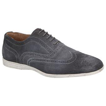 Roberto Ravenelli sportive Herren Schuhe, lässige Leder Schnürschuhe Grau – Bild 2
