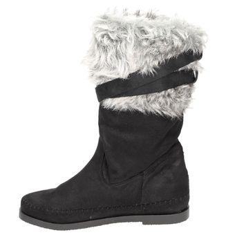 Claudia Ghizzani Damen Schuhe Mokassin-Stiefel mit Nieten und Fellbesatz schwarz – Bild 4