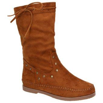 Claudia Ghizzani Damen Schuhe Mokassin-Stiefel mit Nieten brandy/braun 001