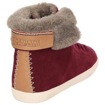 Napapijri Asta 0774760-051 Mädchen Damen Leder-Winterschuhe Sneaker Warmfutter Weinrot – Bild 3