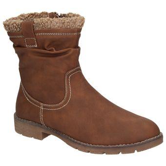 Jane Klain 264366-456 Damen Winterstiefelette Teddyfutter Schuhe Boots Cognac Braun 001