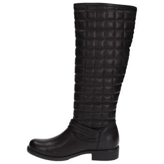 Claudia Ghizzani 2267314 Damen Mädchen Langschaft-Stiefel Stepp-Optik Reißverschluss Schwarz – Bild 5