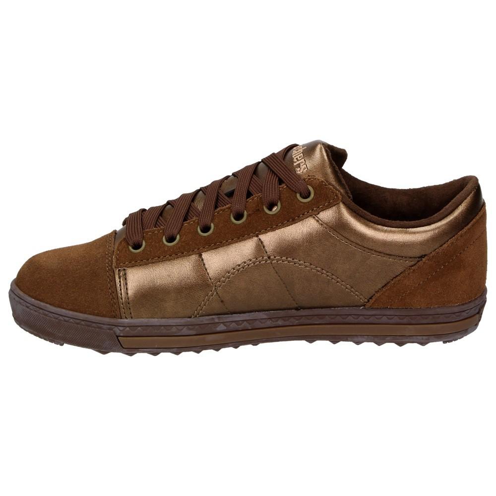 Skechers Kicks Damen Fashion Schuhe Leder Sneaker Halbschuhe Schnürer  Metallic Bronze – Bild 4 047a53789c
