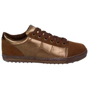 Skechers Kicks Damen Fashion Schuhe Leder Sneaker Halbschuhe Schnürer Metallic Bronze – Bild 2