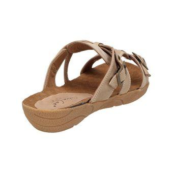 Andrea Conti Damen Sommer Schuhe Sandale Clogs Freizeit Pantoletten Braun Taupe Leder – Bild 3