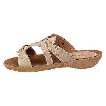 Andrea Conti Damen Sommer Schuhe Sandale Clogs Freizeit Pantoletten Braun Taupe Leder – Bild 4