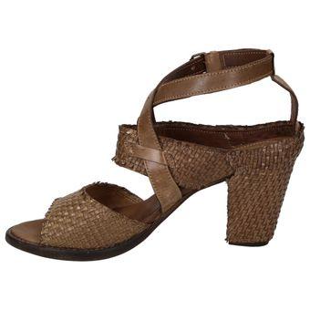 Area Forte AD1750 Damen Schuhe Leder Sandalette Riemchen geflochten – Bild 4
