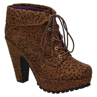 Blowfish Vance Lace Bootie Damen Schuhe Fashion Ankle Boots Stiefeletten High Heel Animal Print 001