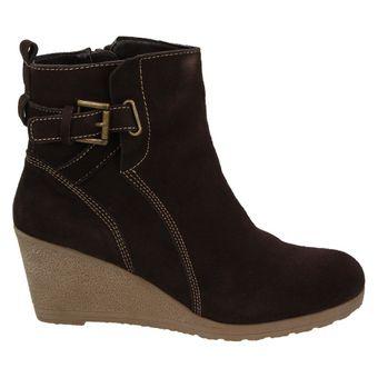 Amia 264 252 Damen Schuhe Keilabsatz Stiefelette Ankle Boots Leder braun – Bild 2