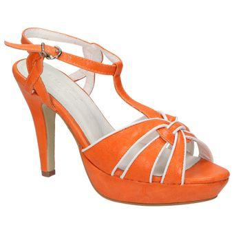 Andrea Conti Damen Schuhe High-Heels Riemchen Sandalette T-Spange Plateau Orange 001