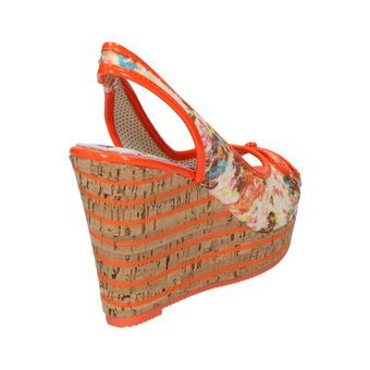 Dolly Do Damen Schuhe Keilabsatz Pumps Wedges Freizeit Keil-Sandalette orange Kork – Bild 3