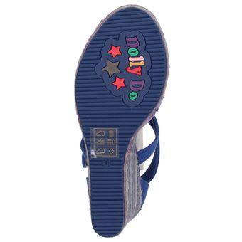 Dolly Do Keilabsatz Damen Sandalette Plateau Bast High Heel Textil Blumen Muster Schnalle – Bild 6