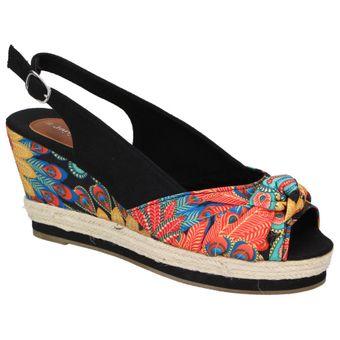 Jane Klain Damen Schuhe Wedges Keilabsatz Sandalette Freizeit Espadrilles Bast schwarz 001