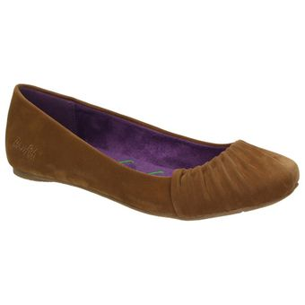 Blowfish Damen Freizeit Schuhe Ballerina Page Flats Wildleder-Optik Slipper Braun 001