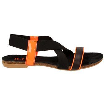Nat-2 n2LOOP Damen Schuhe Sommer Sandale Schwarze Orange – Bild 2