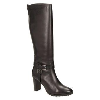 Buffalo London Damen Schuhe Langschaftstiefel elegante Winterstiefel Leder schwarz 001