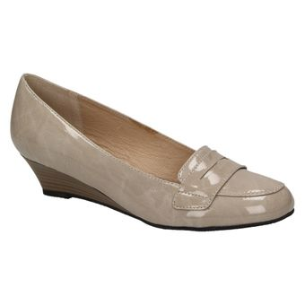 Queens HCL0706 Damen Schuhe Ballerinas Keilabsatz Pumps Lack Wedges Slipper (stone 10) 001