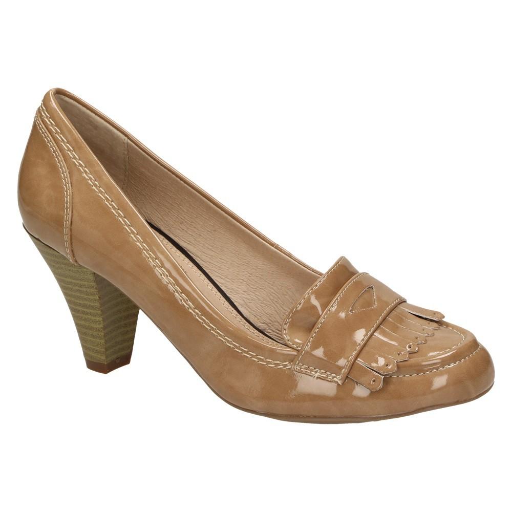 f3593ac78a5be6 Queens 2404720 Damen Fashion Schuhe Lack Pumps Loafer Budapester-Stil Beige  Schuhgröße  41 001