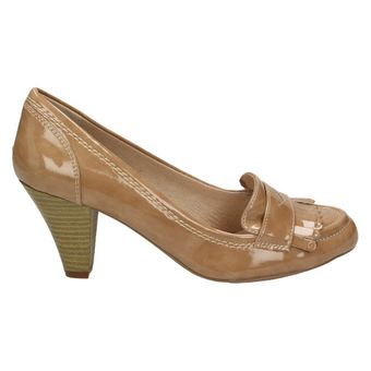 Queens 2404720 Damen Fashion Schuhe Lack Pumps Loafer Budapester-Stil Beige – Bild 2