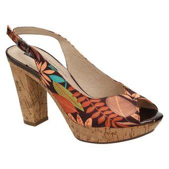 Queens Damen Plateau Pumps Peep-Toe Sandalette Kork Braun (brown comb 00) 001