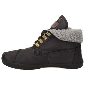 TOMS Fleece Botas Herren Schuhe High-Top Winter Sneaker Freizeit Boots Schnürer schwarz – Bild 4