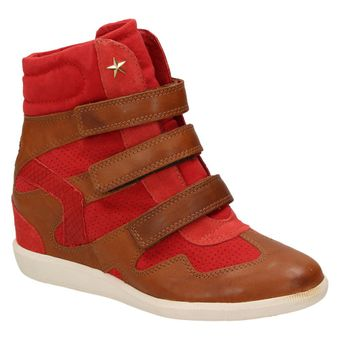 Bullboxer Damen Schuhe Fashion High-Top Sneaker Keilabsatz Klettverschluss Leder  001