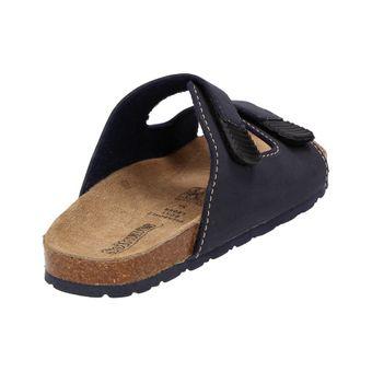Softwaves Jungen Kinder Pantolette Clogs Sandale Haussschuh Ledersohle Schuhe Navy Blau – Bild 3