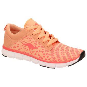 KangaROOS 8005A-777 Damen Mädchen Laufschuhe Fitness Sport Sneaker, Orange Pfirsichfarben Weiß 001
