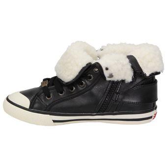 ESPRIT Benny Fur High-Top Kinder Schuhe Unisex Sneaker Teddyfell Winter gefüttert Schwarz – Bild 4