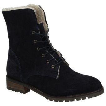 Arqueonautas Damen Schuhe Winter Boots Stiefel gefütterte Schnürboots Leder Teddyfell 001