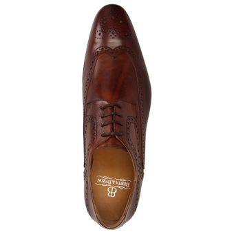 BERTA & BYRON Herren Schuhe Derby Business Leder Halbschuhe Schnürer Brogue braun – Bild 5