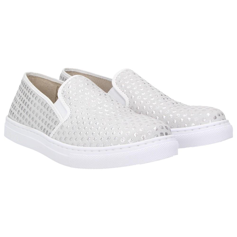 48147cd6e8dd ZWEIGUT® -Hamburg- smuck  202 Damen Schuhe Leder Slip-On Dots Slipper silber