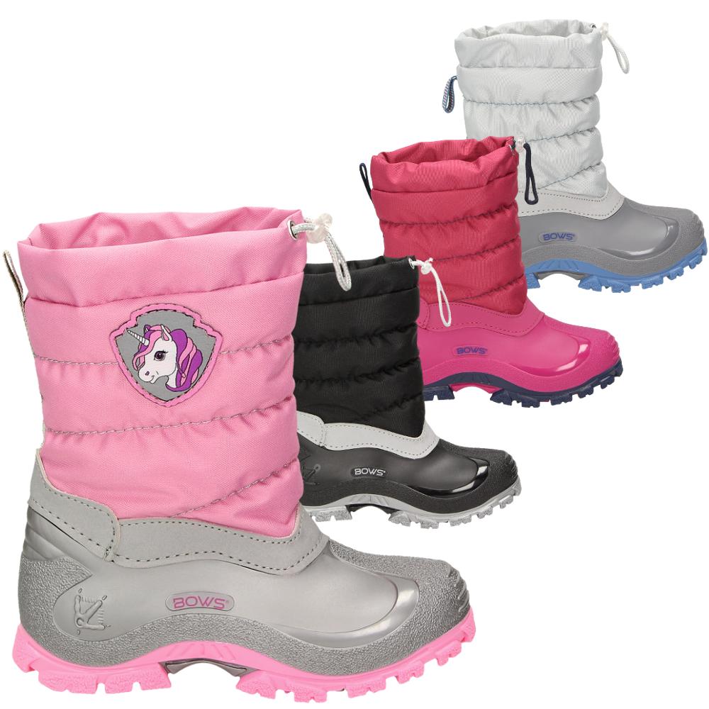 f5f7dacc1cf4c0 BOWS® -LEO- Mädchen Jungen Winter Stiefel Schnee Schuhe gefüttert Einhorn  Unisex Kinder Winterboots