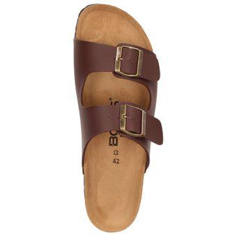 BOWS® Schuhe -ERNIE- Herren Sandale Hausschuhe Clogs Pantoletten Pantoffeln Zweier-Riemen Leder-Fußbett – Bild 5
