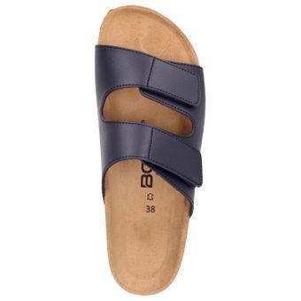 BOWS® Schuhe -ROSI- Damen Klett-Sandalen flach Leder-Fußbett Hausschuhe Clogs Pantoletten Pantoffeln Zweierriemen rutschhemmend – Bild 11